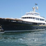 """One of the """"many"""" luxury yachts you will see in the harbor."""