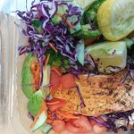Salmon with veggies and salad
