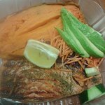 Salmon with sweet potato & salad