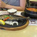 Grilled salted mackerel and spicy tofu soup