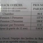 le prix de la chambre d'hôtel