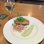 Really nice Salmon with a pesto sauce and beetroot coleslaw at Malt bar today. Cooked by the che