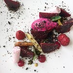 """Beetroot textures with vegetable roots, pickled raspberries, Mykonos """"Xynotiri"""" cheese and kale"""