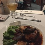 Foie gras with scallops, apples, & red onion compote @ La Bourgogne