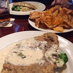 The chicken fried steak has a special breading and gravy. YUM!
