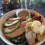 Delicious Cobb salad with huge chunks of chicken.