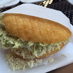 Arepa reina pepiada (Chicken salad with avocados in a scrumptious corn meal arepa
