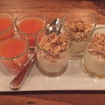 Yogurt parfaits and juice shots included with brunch