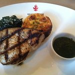 Swordfish with chard and red pepper flan