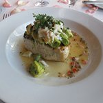 Pacific Swordfish broiled with fresh lump crab, avocado, cilantro and red chile