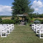 Wedding setup on the lawn by the orchard