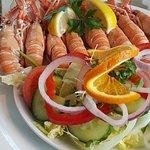 Freshly caught prawns
