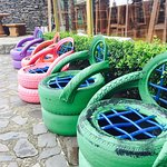 These tire chairs were set-up out on the outdoor patio! Love how they repurposed materials.