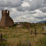 Taos Pueblo old burnt-down church and graveyard