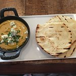 Starter in the restaurant downstairs. Humus and naan bread I think
