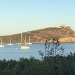 Looking from resort to the Templeof Poseidon across Cape Sounion.