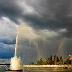 Peace Fountain and a rainbow.