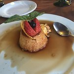 Coconut flan with some kind of warm rum drizzled on it - delicious!