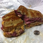 Rueben Sammich (put the quarter there for size reference) enough for lunch & dinner!