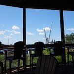 View from our table on the deck looking out at waterway