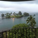 View of hotel, room, coconut island and geckos