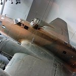 A surviving B17 Flying Fortress hangs on display inside the museum.