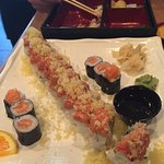 Godzilla roll (middle), small salmon roll.