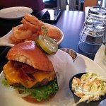 Bind Pig Burger & Onion Rings (don't forget the Chipotle Mayo on the side)