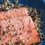 Seasonal wild Alaskan sockeye salmon on quinoa with coconut