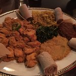 Vegetarian sampler and a chicken dish