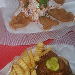 Hot Chicken Skins,  baby backs being smoked,  sides and specials board,  Hot Chicken Nachos, int
