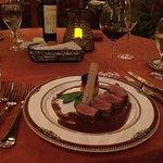Cena, pato con salsa de higo y Bellini de Maracuyá