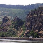 Rowena Plateau and slump blocks viewed from the WA side of the Columbia River