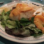 fresh halibut with grilled peaches