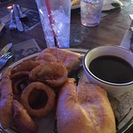 French Dip with Onion Rings and Au Jus