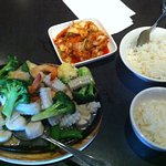 Seafood stir fry with kimchi and rice. I already ate a good quantity before I took the photo