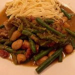 Lamb knuckle, with beans and pasta. Brilliant.