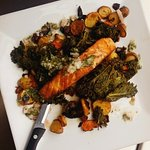 salmon with kale and root vegetables