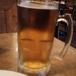 Peroni on draft. If you ask, you can get it in a 32 oz glass. :)