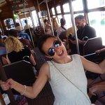 People having fun and making photos in tram 28!