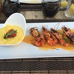 risotto au curry et gambas flambees au cognac