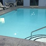 Here is the pool and the second picture shows the bubbly  film floating on top.