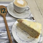 latte + organic coconut and lime cake :-) tasty stuff