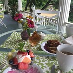 Breakfast served on porch overlooking the garden