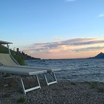 Sunset at the beach of Europa Hotel Malcesine Italy