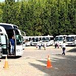 Tour Buses Filling up Parking Lot