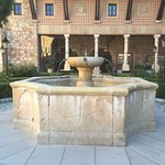 The beautiful stone fountain which is the centrepiece to the formal gardens.