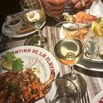 gambas plancha et assiete fruits de mer