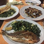 baked seam bream and wine cooked fish fillet with grilled mushrooms