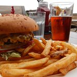 Grizzly burger, fries, and beer -- the perfect pre-hike lunch